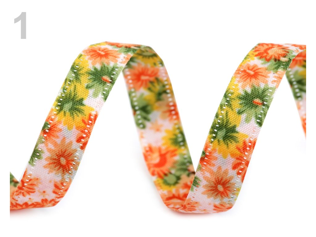 Obojstranná stuha kvety šírka 13 mm/1m
