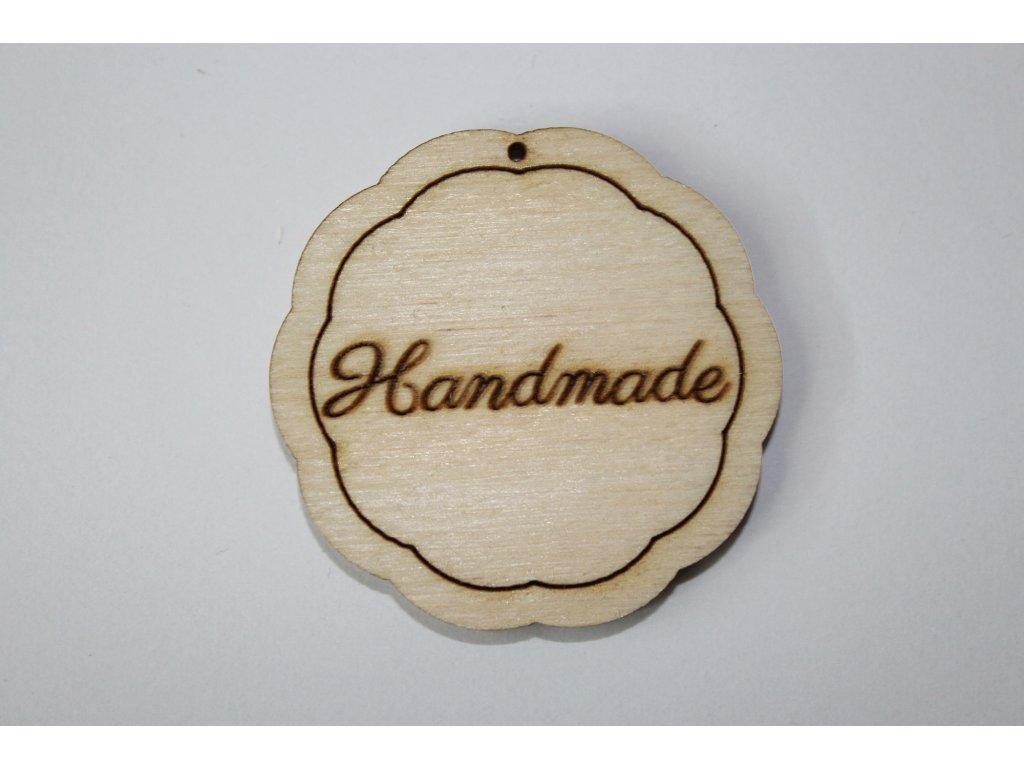 Drevená ceduľka kvietko HANDMADE  4cm