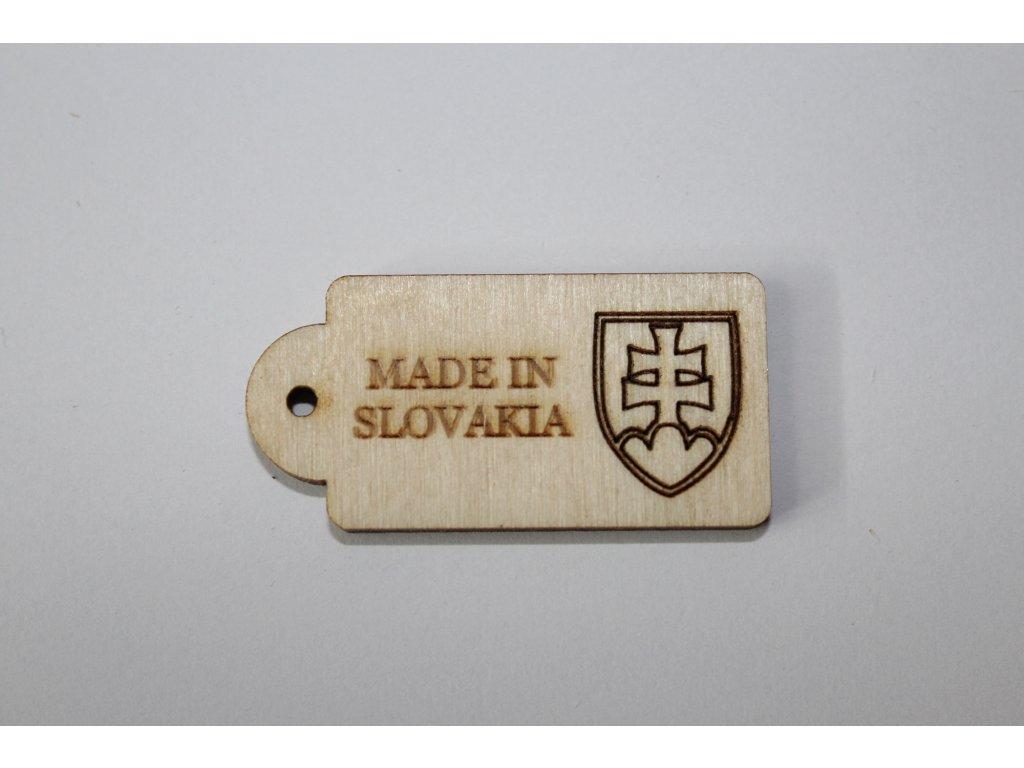 Drevená ceduľka MADE IN SLOVAKIA 4cm