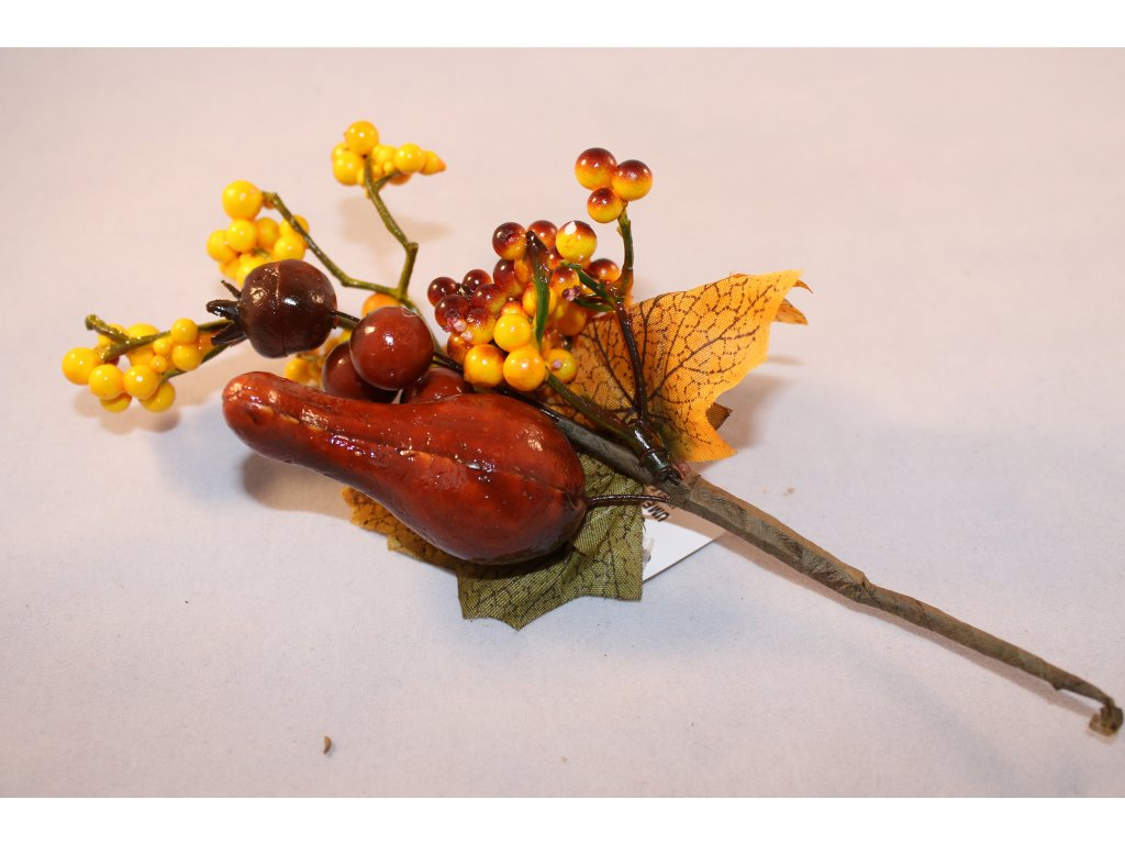 Jesenná vetvička plody+javorový list 20cm