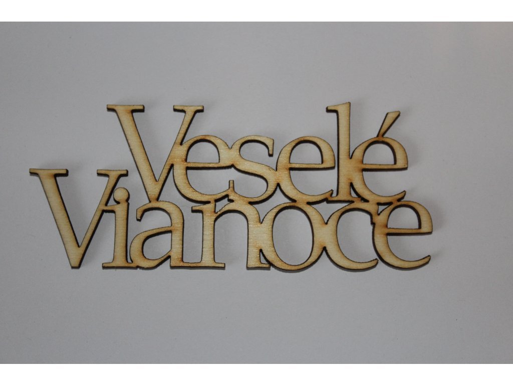 Drevený nápis VESELÉ VIANOCE - 1 12cm