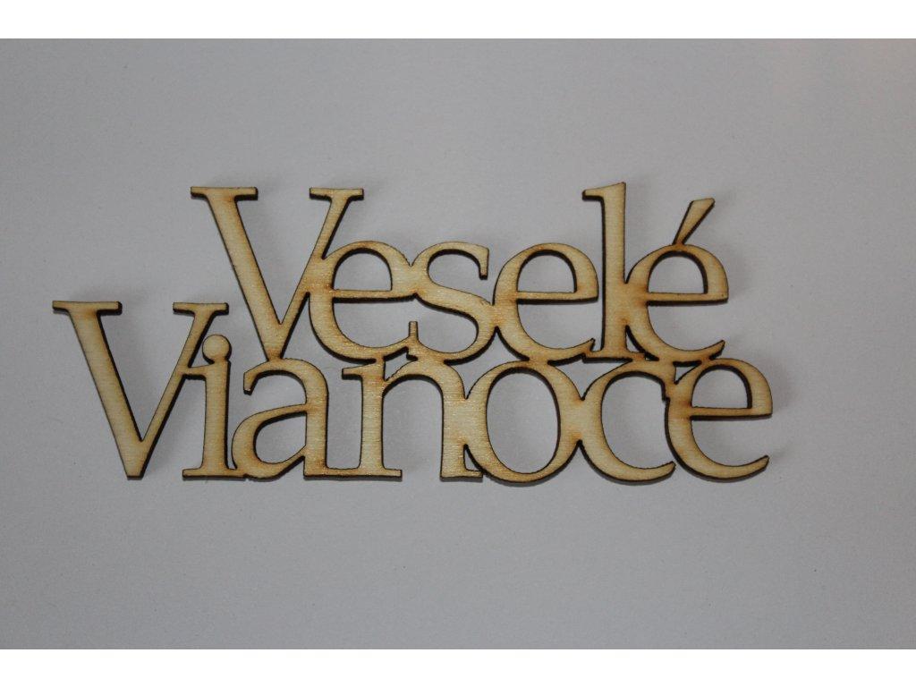 Drevený nápis VESELÉ VIANOCE - 1 10cm