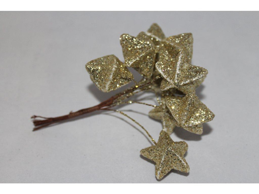Dekorácia hviezdičky na drôtiku - zväzok 10ks