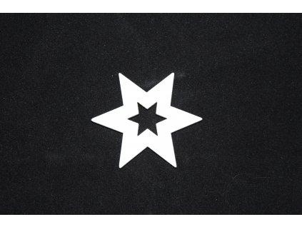Drevená dekorácia biela hviezda Ø5cm