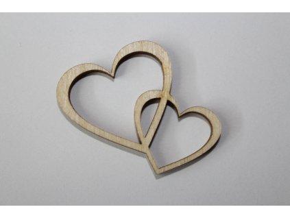 Drevená dekorácia spojené srdcia 4cm