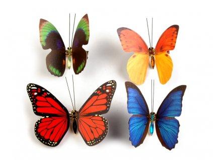 Dekorácia motýľ 3D s klipsom